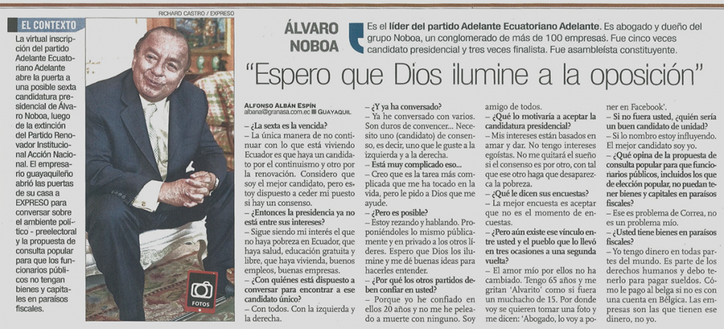 Alvaro Noboa Adelante ecuatoriano adelante diario expreso